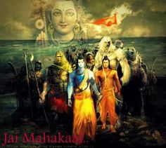 Sri Rama crossing to Lanka from Rameshwaram Shiva Hindu, Hindu Deities, Hindu Art, Hanuman Photos, Hanuman Images, Hindus, Buddhists, Arte Krishna, Shri Ram Photo