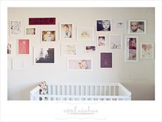 Playroom wall?  Colored frames? Add children's artwork or special quotes to an eclectic wall of photographs to make it fun