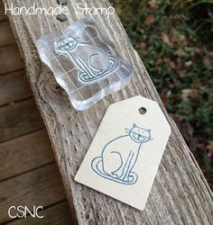 Sitting Cat - Handmade Polymer Stamp - Cards - Tags - Crafts  - 2 Charities #CustomMade #AcrylicBlock