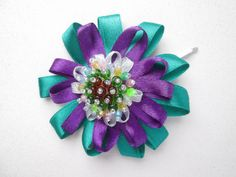 Miss Violet & Green Flower Beaded by MadiReShop on Etsy Satin Ribbon Flowers, Beaded Flowers, Green Flowers, Handmade Flowers, My Flower, Hair Pins, Cool Hairstyles, Beads, Etsy