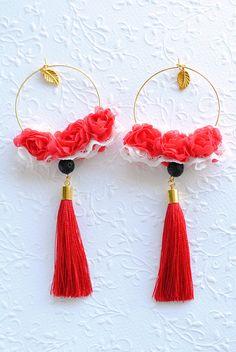 Red Rose earrings Lace earrings Romantic earrings Boho wedding