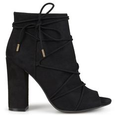 detailed look 8e2a2 07b61 Brinley Co Womens High Heel Strappy Faux Suede Peep Toe Boots Black 75      For more information, visit image link.