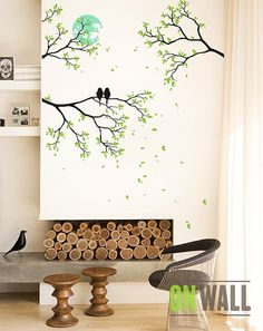 Midnight romance  Large Tree Branches mural by ONWALLstudio, $78.00