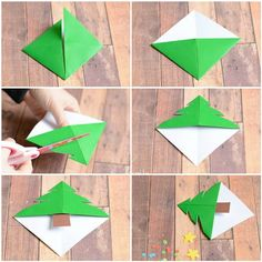 if your kids are eager to make their own DIY gifts for Christmas these Origami Christmas Tree Corner Bookmarks are perfect! Origami Star Box, Origami Love, Origami Fish, Origami Design, Origami Art, Origami Envelope, Kids Origami, Origami Christmas Tree, Christmas Crafts For Kids
