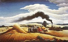 "Thomas Hart Benton (American regionalist artist, 1889–1975)  ""Threshing Wheat"", 1938"