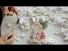 Барельеф розы 3 часть - YouTube Diy Plaster, Plaster Crafts, Cement Crafts, Plaster Sculpture, Sculpture Painting, Flower Crafts, Flower Art, Fairy House Crafts, Sculpture Techniques
