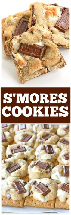 S'mores Cookies - graham crackers topped with chocolate chip marshmallow cookie dough and topped with Hershey squares. the-girl-who-ate-everything.com Chocolate Chip Marshmallow Cookies, Smores Cookies, Chocolate Desserts, Brownie Cookies, Bar Cookies, Cookie Bars, Most Pinned Recipes, Most Popular Recipes, Easy Potluck Desserts