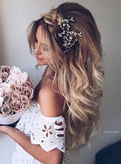 50 Attractive Wedding Hairstyles for Long Hair - Coiffure - Hochzeit Frisuren Best Wedding Hairstyles, Wedding Hairstyles For Long Hair, Elegant Hairstyles, Wedding Hair And Makeup, Bride Hairstyles, Pretty Hairstyles, Hair Makeup, Loose Hairstyle, Hairstyle Ideas