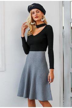 fa7533cd2c Simplee Elegant A-line knitted women skirt fashion 2018 Autumn winter mid  skirt vintage High waist casual umbrella skirt female