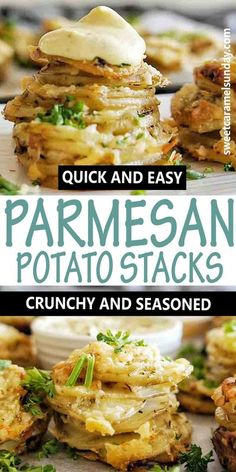Easy crispy potato stacks make a great sish dish or feature on the Thanksgiving or Christmas table. Switch out your mashed potato for these quick parmesan muffin tin potato stacks! #potatoes @sweetcaramelsunday