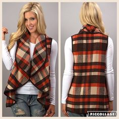 A great layering vest for fall with colors of orange, brown and camel. It has POCKETS!!Wear it with your favorite jeans and boots 🍁🍁    Material is 100% polyester 🍁🍁🍁    Ships free 🍁🍁🍁🍁 | Shop this product here: http://spreesy.com/graceadornedboutique/551 | Shop all of our products at http://spreesy.com/graceadornedboutique    | Pinterest selling powered by Spreesy.com