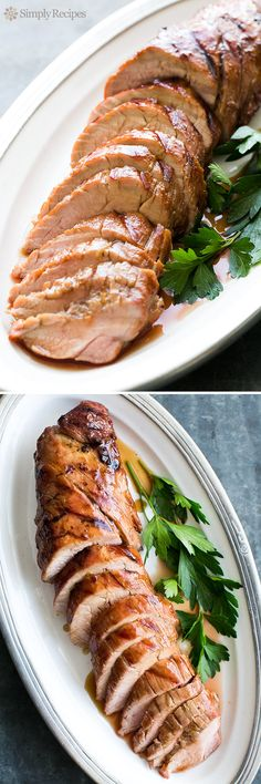 Grilled Pork Tenderloin with Orange Marmalade Glaze ~ Grilled pork tenderloin topped with a tasty orange marmalade glaze. ~ SimplyRecipes.com