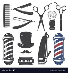 Illustration of Set of vintage barber shop elements. Monochrome linear style vector art, clipart and stock vectors. Barber Tattoo, Barber Logo, Logo Barbier, Vintage Logo, Moustaches, Design Elements, Old School, Monochrome, Hair Cuts