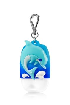 Dolphin - PocketBac Holder - Bath & Body Works - Dive into clean hands with a fun dolphin for your favorite PocketBac! The convenient clip attaches to your backpack, purse and more so you can always keep your sanitizer close at hand.