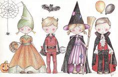 Les invitations People Illustration, Cute Illustration, Illustration Children, Celine, Adornos Halloween, Halloween Drawings, Cute Images, Kids Cards, Halloween Themes