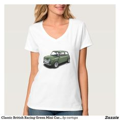 Classic British Racing Green Mini Car on T-Shirt