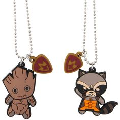 Marvel Guardians Of The Galaxy Groot & Rocket Kawaii Necklace Set (400 RUB) ❤ liked on Polyvore featuring jewelry, silver, bead pendant, pendant jewelry, marvel jewelry, bead jewellery and beading jewelry