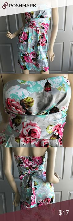 Tease Me Strapless Floral Party Dress - Size 7(Jr) Pre-Loved & In Excellent Like-New Condition. This gorgeous dress has lots of stretch! See images for measurements.  🌺Please remember to click follow to see all new listings. Thank you for browsing!🌺 Tease Me Dresses Strapless