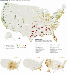 A map of the most risky and the safest places in America for natural disasters.