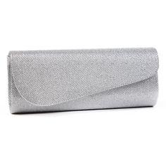 Damara Womens Oblique Flap Glitter Clutch Handbags Silver New #Damara
