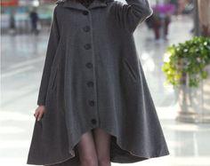 Women Wool Jacket Winter Coat Long Coat Women Cashmere Coat Large Hem Long Coat Plus Size Custom Made W13-02