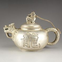 Chinese White Copper Dragon Head Teapot w Marked