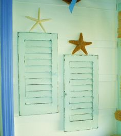 beachy distressed wood furniture | beach shutters louvered furniture shabby chic wall by backporchco