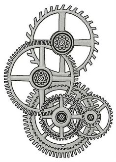 Gears machine embroidery design
