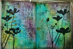 Art Journal - Layers of stencils & Tim Holtz Distress products: