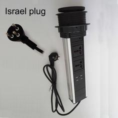 (854.92$)  Watch now  - Israel plug universal av power 3universal power+2charge USB conference furniture desktop tabletop socket