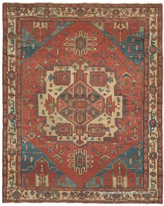SERAPI, Northwest Persian, 9ft 0in x 11ft 3in, 3rd Quarter, 19th Century. Masterful use of color and contrast are highlighted in this collector-level antique Persian Serapi carpet. Its complex design and varied palette of glowing time-seasoned colors make this small room-size Oriental carpet a wonderfully eccentric, highly inventive representative of the best village weaving of Northwest Persian Azerbaijan during the 19th century.