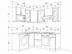 Useful Kitchen Dimensions And Layout - Engineering Discoveries Industrial Kitchen Design, Kitchen Room Design, Home Decor Kitchen, Kitchen Interior, Building Kitchen Cabinets, Kitchen Cabinet Styles, Kitchen Cabinet Dimensions, Kitchen Layout Plans, Drawing Furniture