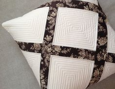 Quilted pillow cover, pillow sham, throw pillow, patchwork pillowcase, floral pillow