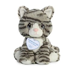"""This plush Precious Moments Cinder Kitten has a sweet face to melt your heart and a """"Fur-ever Friends"""" encouraging message. This adorable tabby cat stuffed animal has a huggable body of soft striped gray fur and beautifully embroidered blue eyes. Cat Allergies, Grey Kitten, Precious Moments, Kittens Cutest, Cute Gifts, Cat Lovers, New Baby Products, Plush, Teddy Bear"""