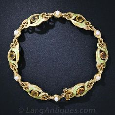 Art Nouveau Citrine, Pearl and Shaded Enamel Bracelet -