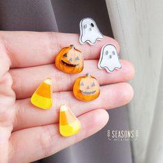 Handdrawn Halloween Stud Earrings Post Earrings Ghost Candy