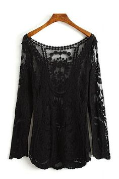 So Pretty! Sexy Hollow-out Round Neck Black Lace Long Sleeve T-shirt #Sexy #Black #Lace #Sheer #T_Shirt