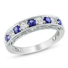 Miadora Sterling Silver Created Blue and White Sapphire Stackable Anniversary Ring | Overstock.com Shopping - The Best Deals on Gemstone Rings