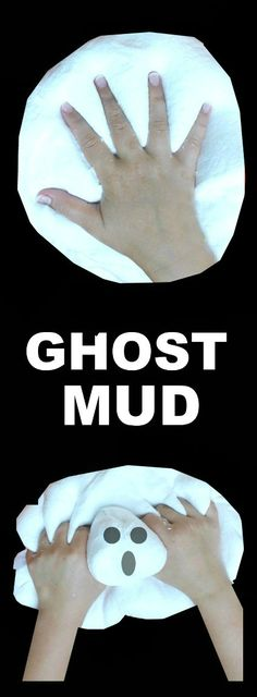GHOST MUD: A must-try activity for kids! (It's ooey, and gooey, and ghostly cold!) #playrecipes #kidsactivities #halloweencraftsforkids