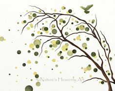 8 x 10 Aquarell Baum Kunstdruck, Grün Natur Dekor, naturfarben, moderner Wandkunst, Abstract Tree Silhouette, (130)