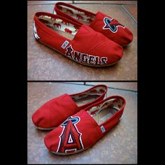 Angels Baseball team hand painted shoes by PattyCakesKicks on Etsy, $75.00 very cool minus the angles & add the sox lol