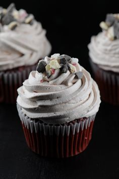Peppermint  Bark Red Velvet Cupcakes with Hot Chocolate Whipped Cream Frosting