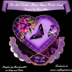 """The Last Orchid Heart Shaped Wobble Card Mini Kit on Craftsuprint designed by Karen Adair - This two sheet mini-kit will make this beautiful, large scallop wobble card, with a heart shaped scallop-edged over the edge topper. The kit contains a card, approximately 8"""" in diameter, and plenty of decoupage. The kit also includes 6 sentiment tags, one of which I have left blank so that you can personalise if you wish. If you like this check out my other designs, just click on my name. - Now…"""