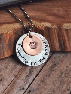 Dog Lover, Pet Memorial Necklace, Hand Stamped Paw Print Necklace, Dog Memorial Necklace, Personalized Jewelry, Custom Necklace, Handstamped - pinned by pin4etsy.com