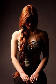 Auburn Braid and Denim Corset (redhead,long braid,denim corset,rawhide lacing)