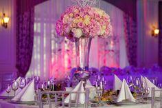 Purple Wedding Decorations, Wedding Centerpieces, Wedding Table, Wedding Reception, Table Arrangements, Floral Arrangements, Banquet Tables, Linen Napkins, Living Room