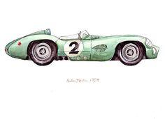 """1959 Aston Martin, classic automobile watercolor print, 8x10"""""""