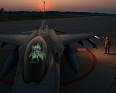 F-16 on the Ramp at Sunset