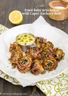 Fried Baby Artichokes with Caper Anchovy Aioli
