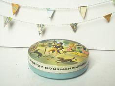 Vintage french tin box PIERROT GOURMAND PARIS 1940 by 5LittleCups, $19.00
